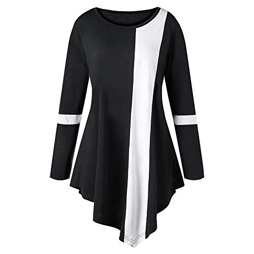 ICE Cream Fashion Women Casual Long Sleeve Two Tone Color O-Neck Asymmetric Tops Plus Size