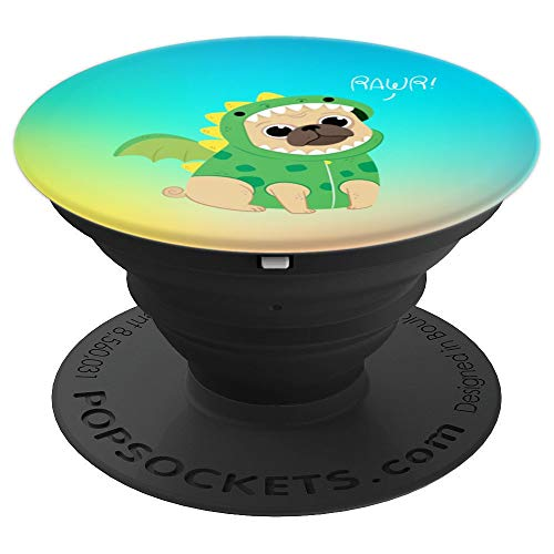 Cute Pug Puppy in Dragon costume, Puglife, Pug Love - PopSockets Grip and Stand for Phones and Tablets ()
