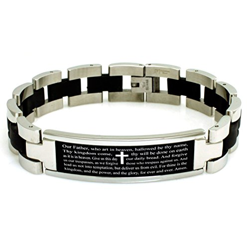 Tioneer Stainless Steel Our Father The Lord's Prayer Engraved Black ID Bracelet