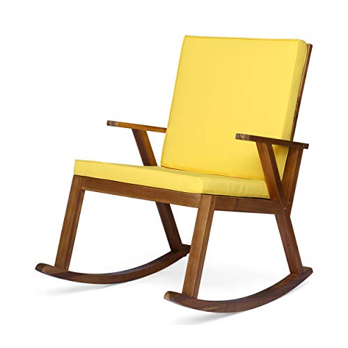 Champlain Patio Rocking Chair | Acacia Wood | Cushioned | Traditional | Mid-Century Modern | Teak Finish with Yellow Cushions