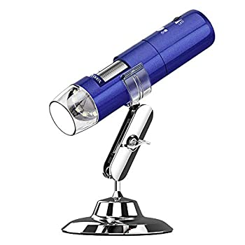 Digital USB Microscope, UMTELE Rechargeable 2MP Camera Handheld Microscope, 50x to 1000x Magnification with Metal Stand for iPhone/iPad/Samsung/Windows/Mac and Smartphones - Blue