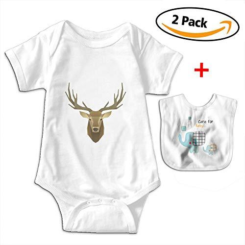 POOPEDD Polygonal Animals Deer Unisex Baby Short Sleeve Onesies Infant Bodysuit Baby Onesie Infant Bibs by POOPEDD