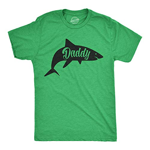 Mens Daddy Shark Tshirt Cute Funny Family Ocean Beach Summer Vacation Tee for Guys (Heather Green) - L ()
