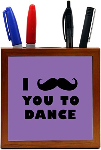 Rikki Knight I Mustache You To Dance Tropical Pink Color Design 5-Inch Tile Wooden Tile Pen Holder (RK-PH42953) by Rikki Knight