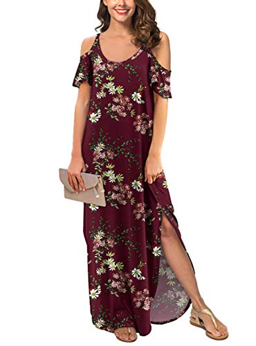 GRECERELLE Women's Summer Strapless Strap Cold Shoulder Casual Loose Dress Cover Up Long Cami Split Floral Print Maxi Dresses with Pocket Wine Red-M