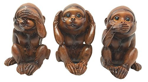 - Gifts & Decors Faux Mahogany Wood Finish See Hear Speak No Evil Monkeys Three Wise Ape of Jungle Figurine Set of Three Collectible Sculptures