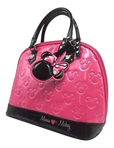 Disney Parks Minnie Loves Mickey Embossed Bowler Ball Bag Purse Hot Pink Black