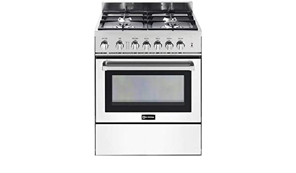 Verona VEFSGG304NSS 30 Freestanding All Gas Range 4 Sealed Burners Convection Oven Storage Drawer Stainless Steel