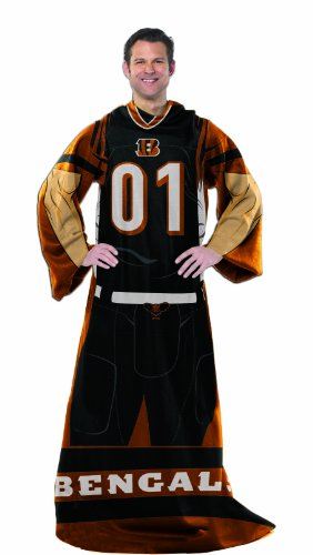 Officially Licensed NFL Cincinnati Bengals Full Body Player Adult Comfy Throw Blanket, 48