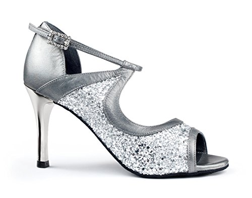 7 Tango PD504 Chaussures Femmes cm PortDance Argent Slim de Cuir Danse Xq8IXpawx