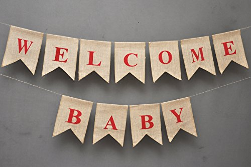 WELCOME BABY Burlap Banner - Elegant Baby Shower Flag Banner - Pink / Blue feet Welcome - Ornate Welcome Baby Home Décor - Pregnancy Reveal Photo Prop - Ban Red