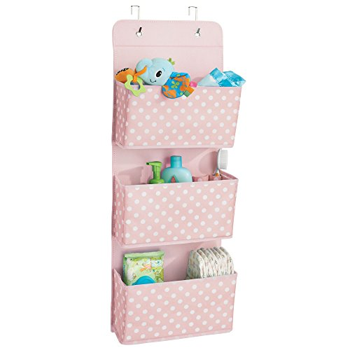 mDesign Soft Fabric Wall Mount/Over Door Hanging Storage Organizer - 3 Large Pockets for Child/Kids Room or Nursery - Hooks Included - Polka Dot Print - Light Pink with White Dots (Center Doll Nursery Baby)