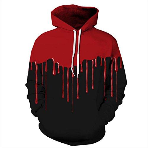 Haocloth Couple Printed Hoodies Halloween Costume Unisex Printed Hoodies Blood Drops Digital Print Hoodies