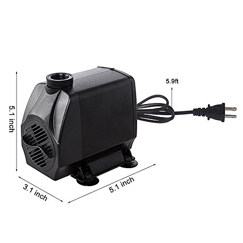 KEDSUM 880GPH Submersible Pump(3500L/H, 100W), Ultra Quiet Water Pump with 13ft High Lift, Fountain Pump with 4.9 ft Power Cord, 3 Nozzles for Fish Tank, Pond, Aquarium, Statuary, Hydroponics