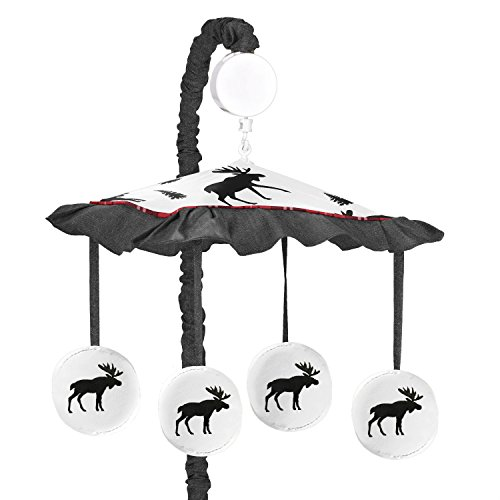 Sweet Jojo Designs Grey, Black and Red Woodland Plaid and Moose Musical Baby Crib Mobile for Rustic Patch - Baby Plaid Mobile Musical