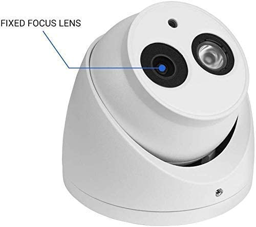 R-Tech 5MP 4-in-1 AHD CVI TVI Analog Outdoor Indoor Turret Dome Camera with Matrix IR Night Vision 2.8mm Fixed Lens White Require 5MP or Higher Resolution DVR