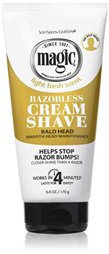 Magic Razorless Cream Shave Bald Head 6 Ounce Tube (177ml) (6 Pack)