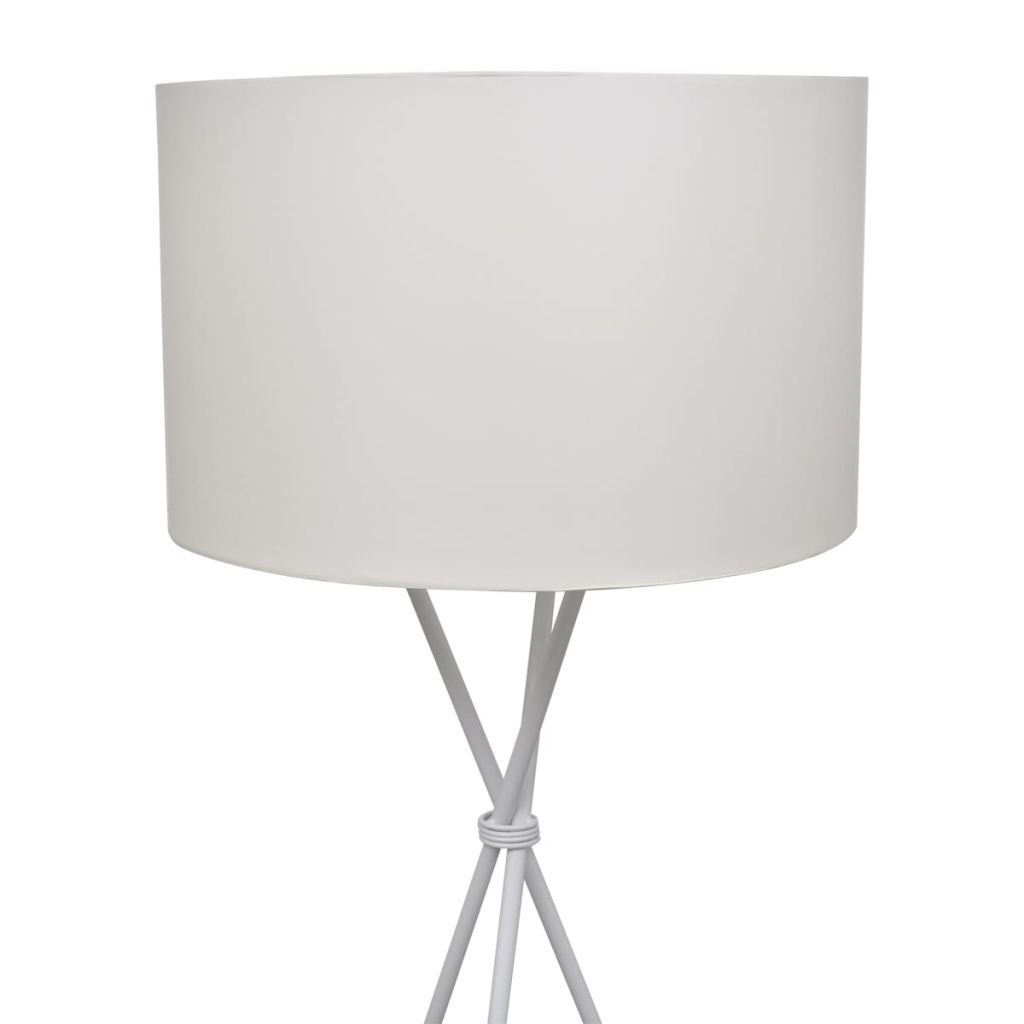 vidaXL Lámpara de Pie Moderna con Pantalla Redonda de Tela Blanca Luz de Suelo