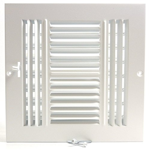6″w X 6″h 4-Way AIR Supply Grille – Vent Cover & Diffuser – Flat Stamped Face – White [Outer Dimensions: 7.75″w X 7.75″h]