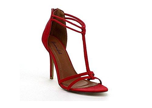 Bonnibel Rosita Donna T-strap Posteriore Con Cerniera Cinturino Alla Caviglia Stiletto Scarpa Sandali Rossi