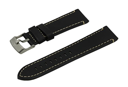 SWISS REIMAGINED 5 Colors Quick Release Quality Genuine Leather Hypoallergenic Watch Band Strap - Black (Titanium 20mm Watch Band)