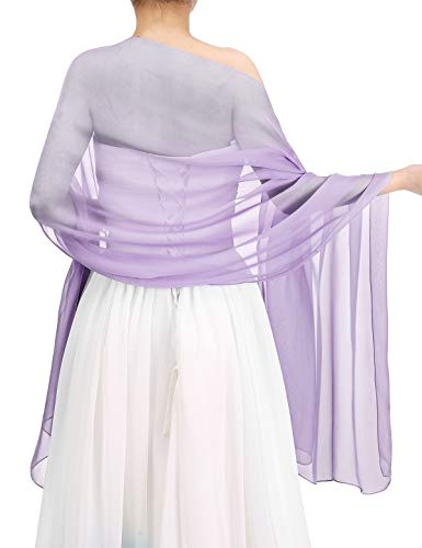 Bbonlinedress Women's Soft Chiffon Shawls for Evening Dresses Fashion Scarves Wraps for Bridal Wedding Party Lavender 190x70