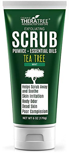 (Tea Tree Oil Exfoliating Scrub with Bamboo Charcoal, Neem Oil & Natural Pumice by Oleavine TheraTree)