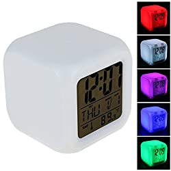Surborder Shop Cube Colorful Glowing 7 Led Colors Changing Digital Alarm Clock with Time & Date Week & Temperature Display (Pure White)