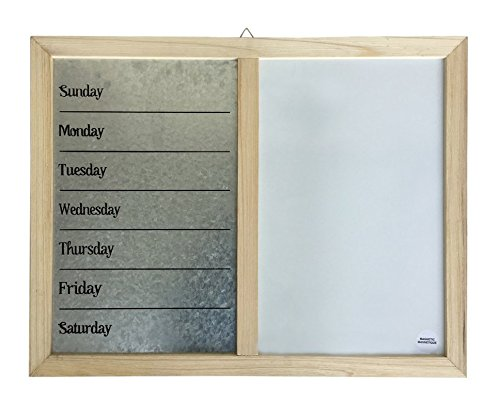 Days of the Week Galvanized Dry Erase White Board Daily Board