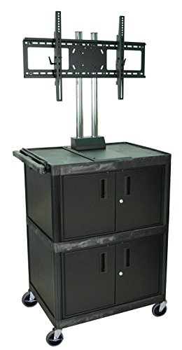 H WILSON WPTV50E 3-Shelf Mobile Cart with 2 Cabinets and Universal LCD TV Mount, Black (Bretford Mobile Equipment)