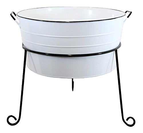 White Round Enamel Standing Wash Tub by Heart of America