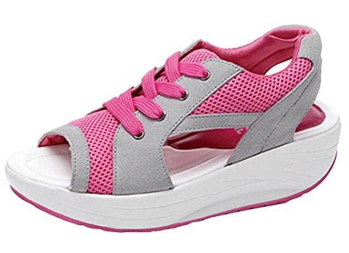 ACE SHOCK Womens Platform Peep Toe Wedges Water Shoes Casual Athletic Sandals Pink C0UuO9