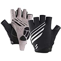 NIXUS Cycling Glove - Half Finger Gel Pad Men/Women Riding Glove White Stripe