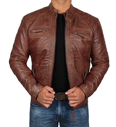 Classic Brown Leather Jacket Mens (Johnson - Diamond Classic, XS) (Diamond Cafe Diamond Brown)
