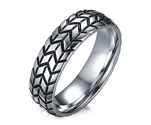 Vnox Jewelry Stainless Steel Tire Ring,Size 11