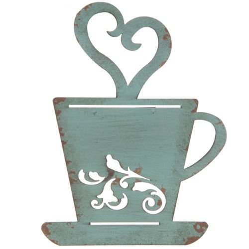 (Turquoise Rusty Metal Coffee Cup Wall, Kitchen, Restaurant, Coffee Shop Decor!)