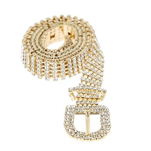 SP Sophia Collection Glitterati 5 Row Chic Women's Fashion Crystal Rhinestone Buckle Chain Belt in - Linked Belt Chain