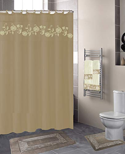 Luxury Home Collection 18 Pc Bath Rug Set Embroidery Non-Slip Bathroom Rug Mats and Rug Contour and Shower Curtain and Towels and Rings Hooks and Towels New (Taupe Nancy)