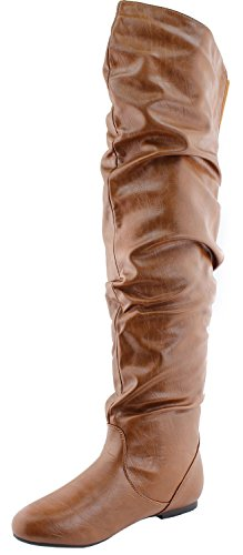 Nature Breeze Women's Stretchy Thigh High Boot Tan PU 8 B(M) US
