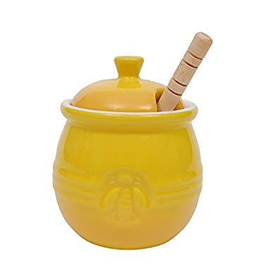 Creative Co-Op Stoneware Honey Pot with Wood Honey Dipper, Yellow