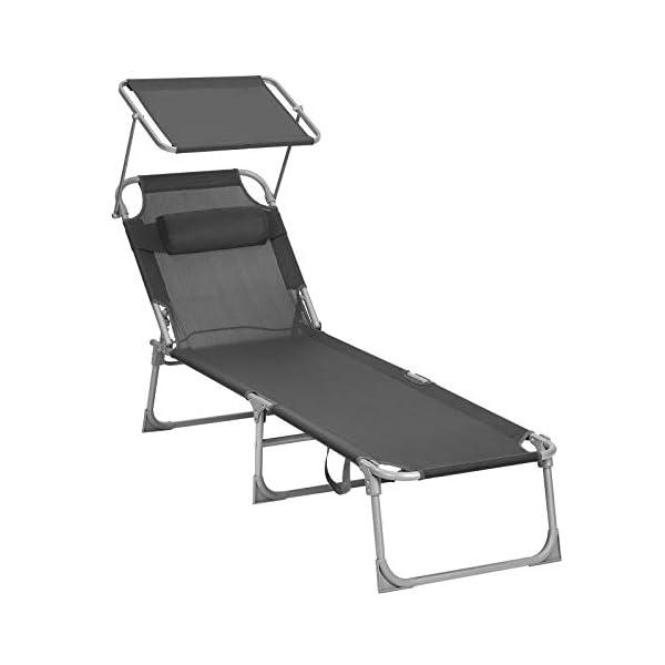 41c58VJTw5L SONGMICS Sonnenliege, Liegestuhl, Gartenliege, mit Kopfstütze und Sonnendach, Rückenlehne verstellbar, leicht, klappbar…
