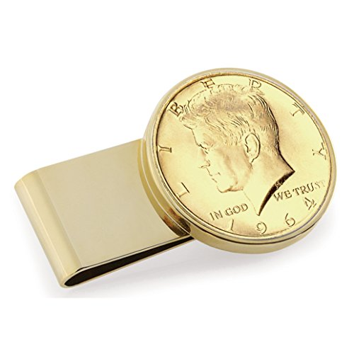 Coin Issue Steel Year of Goldtone Clip Layered Dollar Stainless Gold JFK Money Half 1964 First gn7Yq
