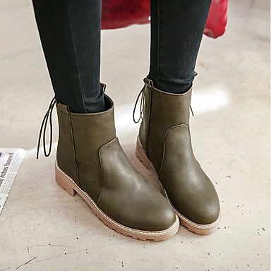 Chunky Leatherette Toe For Heel Ankle eu35 Evening army Dress cn34 Fall Boots Shoes Boots Pointed green Comfort Women's Winter Lace Booties us5 Army up Party amp; uk3 zxZYqwn