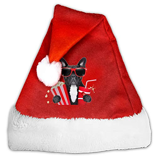 Santa Hat Thick Plush Christmas Hat Fancy Hat Comfort Warm - Creative Cinema Pug Dog -