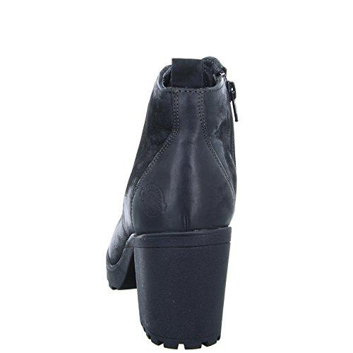 BOXX Damen Stiefelette WH-170H03 Schnürstiefelette Blockabsatz Leder Schwarz