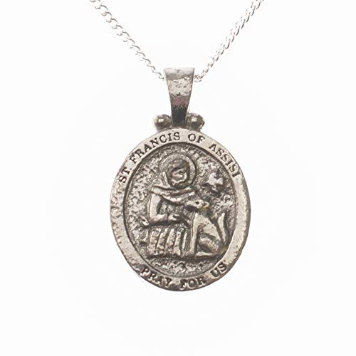 Dicksons Saint Francis of Assisi Pray for Us Engraved Pendant 18 Inch Oval Silver Oxidized Pewter Neckace in Jewelry Box with Prayer Card ()