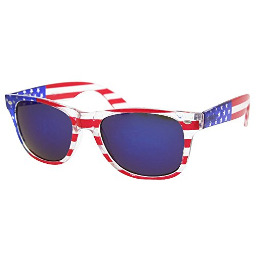 American Patriot Flag Sunglasses Reflective Lens USA Shades 4th of July
