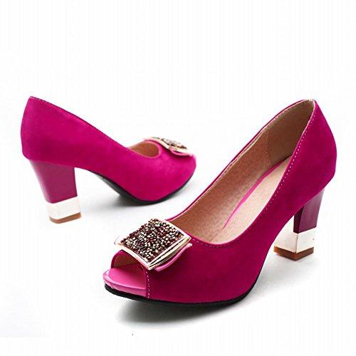 Carolbar Womens Strass Peep Toe Moda Eleganza Alta Tacco Grosso Scarpe Pompe Rosa Rosso