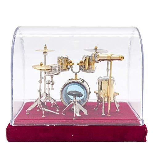 Odoria 1:12 Jazz Drum Kit Set Golden Musical Instrument Miniature Dollhouse Accessories