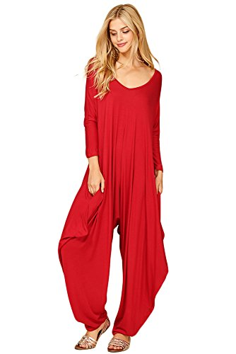 Annabelle Women's Long Sleeve Comfy Harem Jumpsuit Romper With